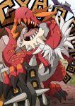 aerodactyl beard claws dinosaur dragon facial_hair fangs fur no_humans open_mouth pails pokemon pokemon_(game) pokemon_xy red_skin roaring sharp_teeth shieldon standing_on_head tongue tyrantrum wings