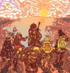 3boys 3girls armor bag bird black_hair blonde_hair boat bow_(weapon) brown_hair cape cat clouds dragon dwarf fantasy gloves hands_on_hips hat headwear helm helmet horizon mountain multiple_boys multiple_girls ooyama_masutangu original pointing scenery shadow shield ship short_hair shoulder_bag sun sunset sword town water weapon western_dragon