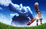 clouds energy_sword field grass highres mechonis rapuka shulk sky sword weapon xenoblade