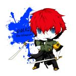 character_name chibi dual_wielding grin minazuki_sho persona persona_4:_the_ultimate_in_mayonaka_arena redhead scar smile sword weapon