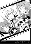 3girls asuna_(sao) breastplate character_doll doll kirito lisbeth long_hair monochrome multiple_girls short_hair silica smile sword_art_online tougo yuuki_asuna