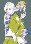 2boys blonde_hair chonorin earrings formal jewelry jojo_no_kimyou_na_bouken mask midriff multiple_boys necktie pannacotta_fugo purple_haze_(stand) stand_(jojo) suit violet_eyes visor