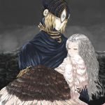 2girls blonde_hair carrying dark_souls dress feathers hand_on_own_chest horns jewelry kongou_kitai long_hair looking_at_viewer lord's_blade_ciaran mask multiple_girls necklace pale_skin princess_carry priscilla_the_crossbreed scythe silver_hair simple_background sitting tail white_hair younger