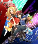 1boy 1girl black_legwear blonde_hair blue_eyes boots bracelet brown_hair calme_(pokemon) chespin copyright_name fennekin froakie hat hat_removed headwear_removed holding holding_poke_ball irouha jacket jewelry long_hair pleated_skirt poke_ball pokemon pokemon_(creature) pokemon_(game) pokemon_xy serena_(pokemon) skirt sunglasses sunglasses_on_head thighhighs