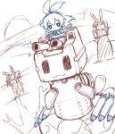 1girl blush chibi elbow_gloves firing gloves glowing glowing_eyes innertube kantai_collection long_hair mecha missiles monochrome navel personification rensouhou-chan shimakaze_(kantai_collection) sketch solo