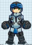 1boy autumn-north beck_(mighty_no._9) clenched_hands cropped_legs green_eyes helmet mighty_no._9 robot smile solo