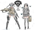 1girl black_hair black_legwear bullpup butterfly combat_knife crest dual_persona dual_wielding elbow_pads flat_chest greaves hair_ribbon holster knee_pads load_bearing_vest long_hair mask milizian! motto neckerchief operator original ribbon school_uniform skirt solo thigh_holster thighhighs twintails yrafy