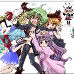 6+girls animal_ears blonde_hair blue_hair choker cirno dress flandre_scarlet green_eyes green_hair hat kasodani_kyouko long_hair multiple_girls mystia_lorelei nanashii_(soregasisan) open_mouth panties patchouli_knowledge purple_hair red_eyes ribbon rumia saigyouji_yuyuko short_hair smile touhou underwear violet_eyes wings