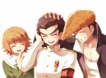 3boys armband black_hair brown_hair closed_eyes crying dangan_ronpa fujisaki_chihiro grin ishimaru_kiyotaka medal multiple_boys oowada_mondo school_uniform short_hair smile sun_trial trap uniform