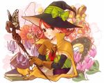 1girl blush book brown_eyes bust butterfly dragon_quest dragon_quest_iii elbow_gloves flower gloves grimoire hat hat_ribbon highres key mage_(dq3) merami mirror pink_hair ribbon shoes short_hair solo staff witch_hat