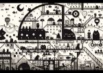 cat crescent_moon hot_air_balloon house kamin monochrome moon original pixel_art
