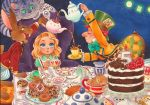 1boy 1girl ^_^ alice_(wonderland) alice_in_wonderland aqua_neckwear blonde_hair blue_eyes blush bow bowtie cake candle card cat chair cheshire_cat chihiro_howe child clock closed_eyes colored_pencil_(medium) commentary cup dormouse doughnut english_commentary fire flame food green_eyes green_hair grin hat holding holding_cup holding_teapot looking_up mad_hatter march_hare marker_(medium) medium_hair millipen_(medium) mouse number party plate playing_card redhead sitting sleeping smile spoon table tea teacup teapot top_hat traditional_media yellow_eyes