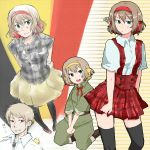 bad_id belgium_(hetalia) bird blonde_hair chick d34 dress green_eyes hair_ribbon jewelry military military_uniform necklace pantyhose pleated_skirt prussia_(hetalia) red_eyes ribbon short_hair skirt sleeves_rolled_up thigh-highs thighhighs uniform zettai_ryouiki