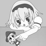 blush character_doll doll hairband hat kirisame_marisa lowres monochrome poke poking touhou