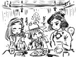doughnut eating eyes food gensokoumuten gensoukoumuten hat kochiya_sanae monochrome moriya_suwako mug pyonta touhou yasaka_kanako