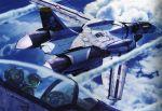 cloud cockpit helmet highres jet kudo_shin kudou_shin macross macross_zero mecha roy_focker skull_and_crossbones skull_squadron sky tenjin_hidetaka vf-0 vf-0d vf-0s