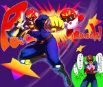 captain_falcon_(cosplay) cosplay epic f-zero falcon_punch gloves helmet hug kirby kirby_(series) male manly nintendo punching scarf smile super_smash_bros. translated translation_request