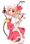 1girl ascot blonde_hair blush flandre_scarlet hat highres knbilove laevatein open_mouth red_eyes short_hair side_ponytail simple_background skirt skirt_set smile solo touhou white_background wings