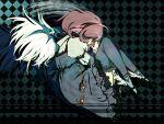 bird blue_legwear dress green_eyes lying mystia_lorelei on_side pink_hair q_(artist) short_hair skirt solo touhou wings