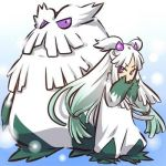 1girl abomasnow costume gradient_background gradient_hair green_hair hair_ornament hitec lowres moemon multicolored_hair personification pokemon pokemon_(creature) purple_eyes sleeves_past_wrists twintails white_hair