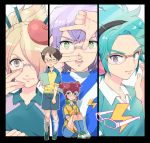 5boys aqua_hair beret blush brown_hair bust face glasses green_eyes hair_over_one_eye hat hayami_tsurumasa headphones idomajin inazuma_eleven inazuma_eleven_(series) inazuma_eleven_go inazuma_eleven_go_galaxy male manabe_jin'ichirou manga_moe megane_kakeru multiple_boys open_mouth otomura_gakuya oumihara purple_hair raimon shinsei_inazuma_japan shuuyou_meito sitting soccer_uniform