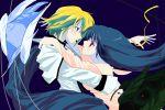 androgynous blue_hair blush couple dizzy dress feathers guilty_gear kannazuki_no_miko ky_kiske long_hair miko_embrace necro parody red_eyes ribbon undine