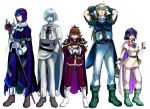 armor bandages belt blonde_hair blue_eyes blue_hair boots bracelet cape clenched_hand closed_eyes crossed_arms earrings facial_mark gloves gourry_gabriev height_difference jewelry lina_inverse lineup long_hair pointy_ears purple_hair red_eyes red_hair short_hair slayers slayers_next smile staff white_background white_hair xelloss zelgadiss_graywords