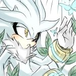 animal animal_ears blush butterfly nature silver_the_hedgehog sonic_the_hedgehog yellow_eyes