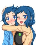 1boy 1girl ;d apron badge blue_eyes blue_hair blush breast_press breasts button_badge gundam gundam_build_fighters hand_on_head haro_button_badge hoodie hug iori_rinko iori_sei kitsune-tsuki_(getter) large_breasts lips lipstick long_hair looking_at_viewer makeup mother_and_son open_mouth ponytail ribbed_sweater simple_background smile sweatdrop sweater white_background wink