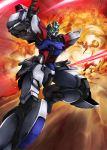 build_strike_gundam energy_sword explosion gundam gundam_build_fighters gyan haganef mecha no_humans shield sword weapon