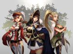 3girls black_hair blonde_hair blue_eyes braid breasts cape cleavage copyright_request dagger elf gauntlets gem gun hat helmet multiple_girls musket nawol pointy_ears ponytail red_eyes sword thighhighs tree weapon zettai_ryouiki