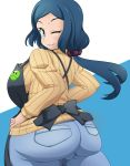 1girl apron aqua_eyes ass blue_background blue_hair breasts crab_club gundam gundam_build_fighters haro iori_rinko jeans large_breasts light_smile long_hair looking_at_viewer looking_back ribbed_sweater solo sweater white_background wink