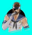 1boy bandana beard big_boss blue_eyes brown_hair cosplay crossdressing eyepatch facial_hair ikuyoan kantai_collection male metal_gear metal_gear_solid shimakaze_(kantai_collection) shimakaze_(kantai_collection)_(cosplay) solo