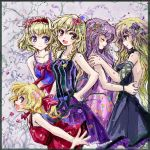 5girls alice_margatroid alternate_costume alternate_headwear alternate_wings bare_shoulders blonde_hair blue_eyes braid closed_eyes collarbone dress face-to-face flandre_scarlet flower gradient_hair hair_flower hair_ornament hairband hand_on_hip hijiri_byakuren kirisame_marisa multicolored_hair multiple_girls nanashii_(soregasisan) no_hat open_mouth patchouli_knowledge petals purple_hair single_braid smile touhou wings