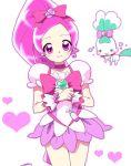 1girl choker chypre_(heartcatch_precure!) cure_blossom dress hanasaki_tsubomi heart heartcatch_precure! long_hair magical_girl pink_eyes pink_hair ponytail precure ribbon smile yukito_mayumi