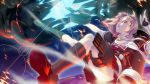1girl explosion fingerless_gloves fire gloves glowing glowing_eyes hair_ornament hair_ribbon hairclip highres kantai_collection komakedara long_hair machinery open_mouth personification red_eyes redhead ribbon solo turret yuudachi_(kantai_collection)