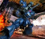 bazooka building car city colony_interior damaged fire glowing glowing_eye gun gundam gundam_0080 hiropon_(tasogare_no_puu) kampfer_(mobile_suit) mecha motor_vehicle panzerfaust shotgun smoke space_colony vehicle weapon