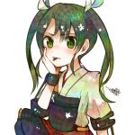 1girl blush bow green_eyes green_hair hair_bow hand_on_own_cheek itomugi-kun japanese_clothes kantai_collection muneate personification pleated_skirt pocky short_sleeves skirt solo twintails white_background zuikaku_(kantai_collection)