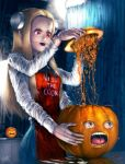 1girl annoying_orange blonde_hair franken_fran glasgow_smile highres juice madaraki_fran pumpkin red_eyes s_zenith_lee stitches