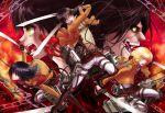 armin_arlert eren_jaeger highres mikasa_ackerman military military_uniform rogue_titan shingeki_no_kyojin souya_touki sword three-dimensional_maneuver_gear uniform weapon