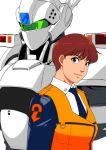 1girl av-98_ingram brown_hair ganto izumi_noa kidou_keisatsu_patlabor mecha necktie police short_hair uniform