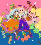 2girls alternate_costume arm_around_waist bat blue_hair bolo_tie bow breasts candy cleavage collarbone dress fujiwara_no_mokou hair_bow hair_ornament halloween hat jack-o'-lantern kamishirasawa_keine komaku_juushoku long_hair long_sleeves looking_at_viewer multicolored_background multiple_girls open_mouth outstretched_arm pants pantyhose pink_hair ponytail puffy_short_sleeves puffy_sleeves red_eyes short_sleeves skirt_hold skull_and_crossbones skull_hair_ornament sparkle star striped striped_legwear suspenders touhou triangle_mouth very_long_hair wand