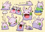 alternate_color azuma_minatsu blush expressions goomy gulpin hands heart no_humans open_mouth pokemon pokemon_(creature) pokemon_(game) pokemon_xy shiny shiny_pokemon sleeping speech_bubble spheal tagme