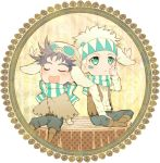 2boys animal_ears black_hair blush bubble bubble_blowing butterfly caesar_anthonio_zeppeli chibi danemaru facial_mark hat jojo_no_kimyou_na_bouken joseph_joestar_(young) kemonomimi_mode multiple_boys poncho rabbit_ears white_hair