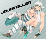 2boys animal_ears birthmark black_hair blue_eyes boots caesar_anthonio_zeppeli danemaru facial_mark feathers fingerless_gloves gloves green_eyes hair_feathers headband jojo_no_kimyou_na_bouken joseph_joestar_(young) multiple_boys nail_polish pointing rabbit_ears scarf shirt star striped striped_pants striped_shirt white_hair wink