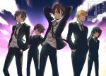 1girl 4boys aoi_toori arms_behind_back arms_behind_head belt black_hair blonde_hair blue_eyes brown_eyes brown_hair buckle clouds formal glasses hands_in_pockets honda_masazumi kyoukai_senjou_no_horizon long_hair long_sleeves multiple_boys mutsumi_masato necktie neshinbara_toussaint noriki purple_hair short_hair sky smile suit tachibana_muneshige