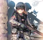 1girl 2boys black_hawk_down blonde_hair blue_eyes car-15 daito faceless gloves goggles_on_head gun headset helicopter helmet knee_pads load_bearing_vest m14 m16 military military_uniform operator original pouches short_hair sling usa weapon