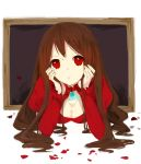 1girl :o breasts brooch brown_hair cleavage he_ji_(ryou) head_rest ib jewelry lady_in_red_(ib) long_hair petals picture_frame red_eyes