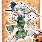 1girl bloomers blush candy cape fang green_eyes hairband halloween hat hitodama jack-o'-lantern katana konpaku_youmu konpaku_youmu_(ghost) nanashii_(soregasisan) open_mouth puffy_short_sleeves puffy_sleeves ribbon saigyouji_yuyuko_(cosplay) short_hair short_sleeves silver_hair skirt sword touhou triangular_headpiece underwear vest weapon