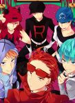 6+boys aqua_hair bandana baseball_cap blonde_hair blue_eyes couch gloves grin hat hoodie looking_at_viewer multiple_boys pokemon pokemon_(game) redhead smile sunglasses team_aqua team_aqua_grunt team_flare team_flare_grunt team_galactic team_galactic_grunt team_magma team_magma_grunt team_plasma team_plasma_grunt team_rocket team_rocket_grunt tobari_(brokenxxx) uniform